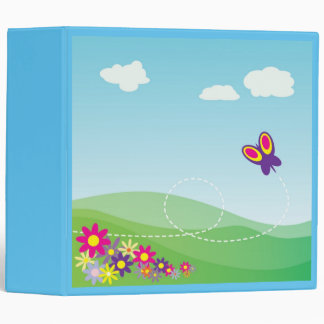 HILLSIDE WITH BUTTERFLY AND FLOWERS 3 RING BINDER