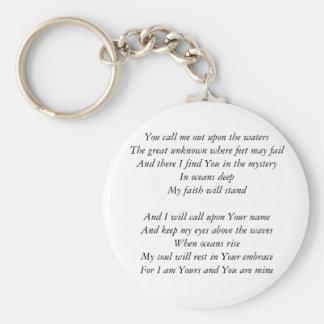 Hillsong United- Oceans lyrics Inspirational Key Keychain