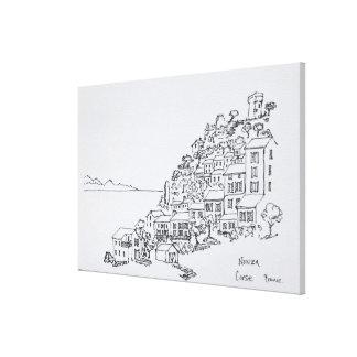 Hilltop Village of Nonza | Corsica, France Canvas Print