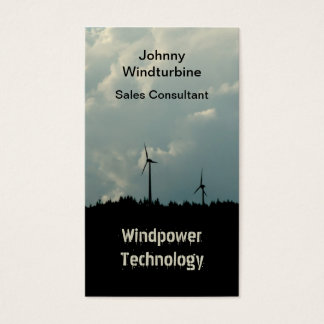 Hilltop wind farm silhouette on stormy sky business card