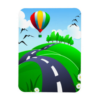 Hilly road with balloon, magnet