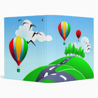 Hilly road with balloons, binder