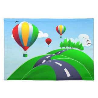 Hilly road with balloons, placemat