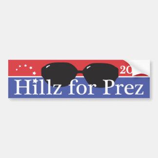 Hillz para Prez Pegatina Para Auto