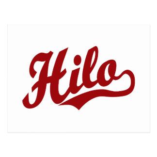 Hilo script logo in red postcard