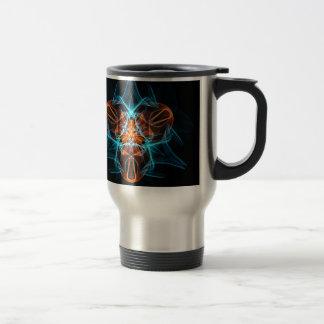 Hilos de araña entrelazados extracto - azul y taza de viaje