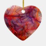 Hilos del rojo adorno navideño de cerámica en forma de corazón