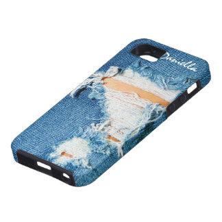 Hilos destrozados - tejanos rasgados del dril de iPhone 5 carcasas