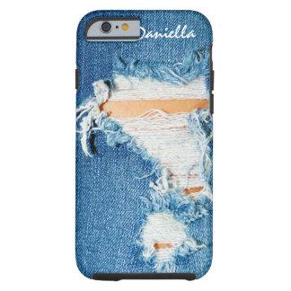 Hilos destrozados - tejanos rasgados del dril de funda de iPhone 6 tough