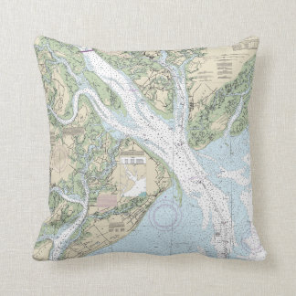 Hilton Head Island/Beaufort Nautical Chart Pillow