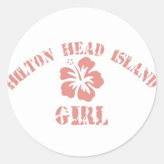 Hilton Head Island Pink Girl Classic Round Sticker