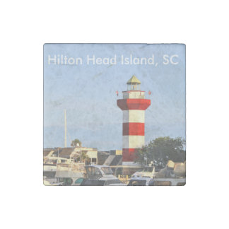 Hilton Head Island SC Lighthouse and Boats, Magnet Stone Magnet