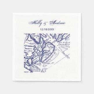 Hilton Head Island SC Vintage Map Navy Blue Napkin