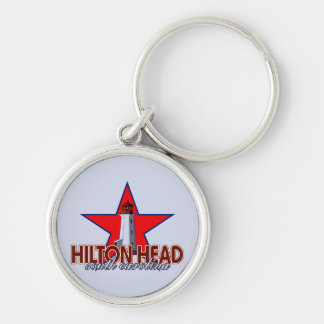 Hilton Head Lighthouse Silver-Colored Round Keychain