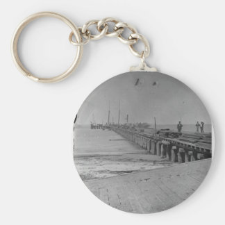 Hilton Head, S.C. Dock built by Federal troops Basic Round Button Keychain