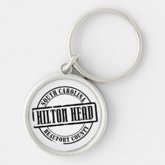 Hilton Head TItle Silver-Colored Round Keychain