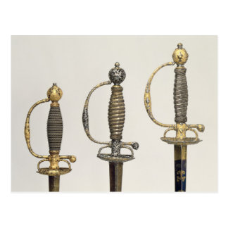 Hilts of three French swords one of steel Postcard