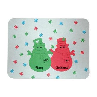 Him and Her - Merry Christmas snowmen. Rectangular Photo Magnet