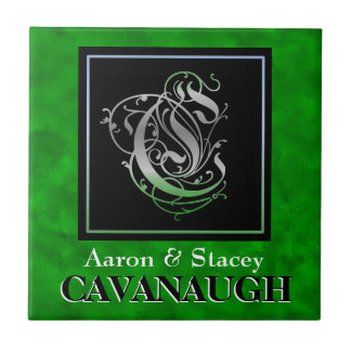 Him and Her Surname - Irish Green Monogram Tiles