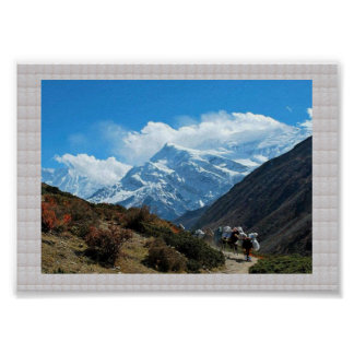 HIMALAYA Manang Mountains   :CRYSTAL Border Poster