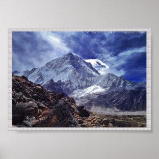 HIMALAYA Mount NUPTSE   :CRYSTAL Border Poster