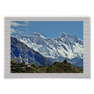 HIMALAYA Mountains and Glaciers :CRYSTAL Border Poster