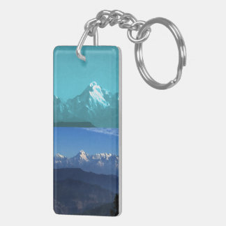 Himalaya Snow Views of mountains from Almora India Keychain