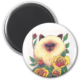 Himalayan and Roses 2 Inch Round Magnet