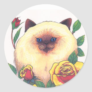 Himalayan and Roses Classic Round Sticker