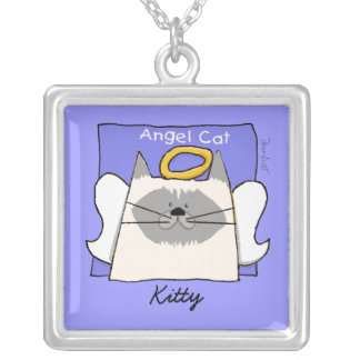 Himalayan Cat Angel Personalize Square Pendant Necklace