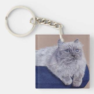 Himalayan Cat Art Keychain Square Acrylic Keychains