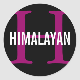 Himalayan Cat Breed Monogram Classic Round Sticker