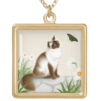 Himalayan Cat & Butterfly Necklace