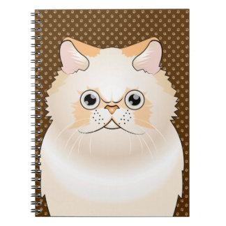 Himalayan Cat Cartoon (Cream) Spiral Note Books