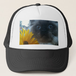 Himalayan Kitten with yellow flower Trucker Hat