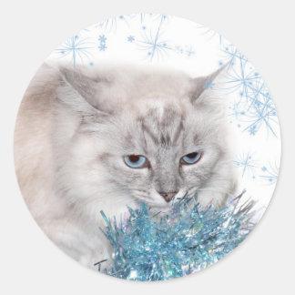Himalayan kitty Christmas Classic Round Sticker