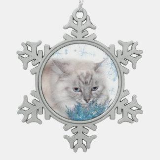 Himalayan kitty Christmas Snowflake Pewter Christmas Ornament