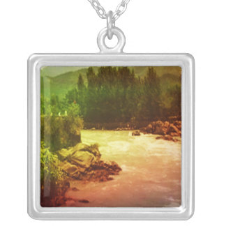 Himalayan Mountains - Holy River Ganga (Ganges) Silver Plated Necklace