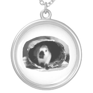 Himalayan Rabbit BW Photo in round can Silver Plated Necklace