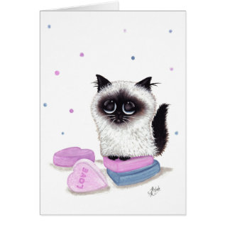 Himalayan Valentine Candy Cat By Bihrle Card at Zazzle