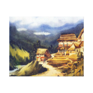 HIMALAYAN  VILLAGE-WATERCOLOR ON PAPER PAINTING CANVAS PRINT
