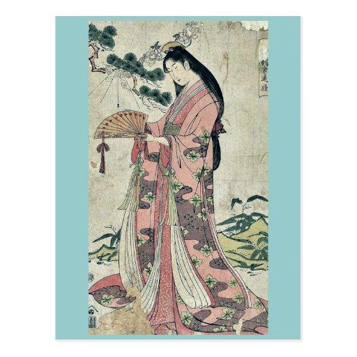 Hime de Sotoori por Hosoda, Eishi Ukiyoe Tarjeta Postal