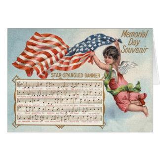 Himno americano de la querube del ángel de la tarjeta de felicitación