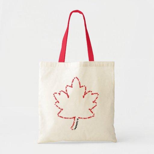 Himno nacional de O Canadá en una hoja de arce Bolsa