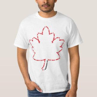 Himno nacional de O Canadá en una hoja de arce Camisas