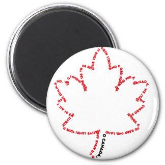 Himno nacional de O Canadá en una hoja de arce Imán Redondo 5 Cm