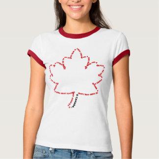Himno nacional de O Canadá en una hoja de arce Playera
