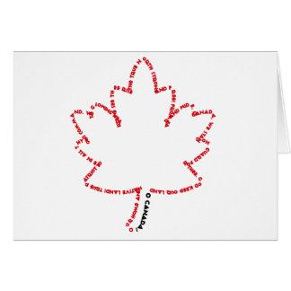 Himno nacional de O Canadá en una hoja de arce Tarjeta De Felicitación
