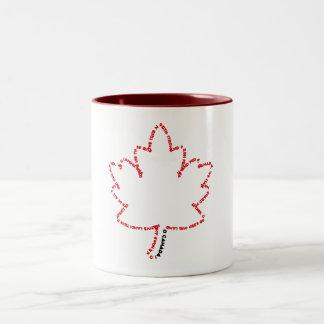 Himno nacional de O Canadá en una hoja de arce Taza De Dos Tonos