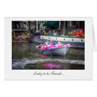 Hinche el barco del fiesta - afortunado para ser tarjeta de felicitación